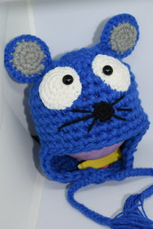 Cappellino neonato topino realizzato uncinetto lana baby blu