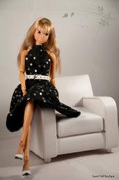 Vestito nero con strass per Momoko Doll