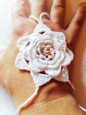 """cavigliera uncinetto """"barefoot sandal"""" con fiore e perla"""
