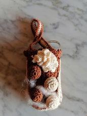 """Charm portachiavi """"tortino cioccolato"""" ad uncinetto"""