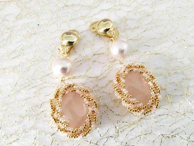Orecchini pendenti con quarzo rosa e perline oro, lunghi, luminosi