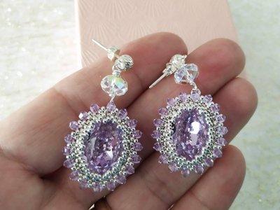 Orecchini luminosi con cristalli swarovski, pendenti, eleganti, argento 925