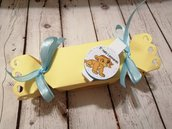 BOMBONIERA RE LEONE caramella con fiocco mollettina chiudi pacco. Idea battesimo nascita. Bimbo bimba.