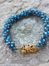 """""""Sea's Breath"""" bracciale a spirale russa turchese, blu e oro"""