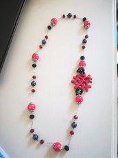 Collana lunga rosso nero corallo