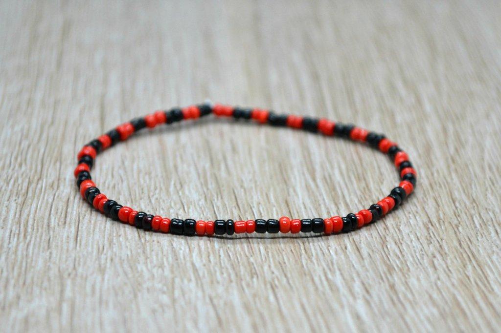 bracciale elastico perline uomo donna nero rosso