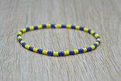 bracciale elastico perline uomo donna giallo blu