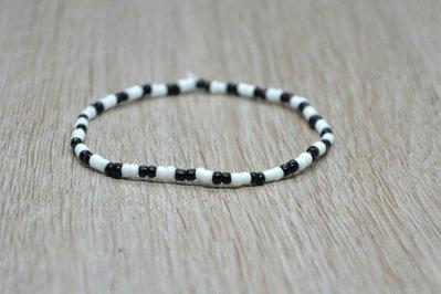 bracciale elastico perline uomo donna bianco nero