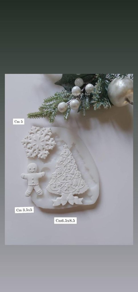 stampo soggetti natalizi albero omino e fiocco di neve
