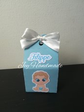 Scatolina segnaposto bomboniera porta confetti bimbo baby nascita newborn battesimo bambino maschio
