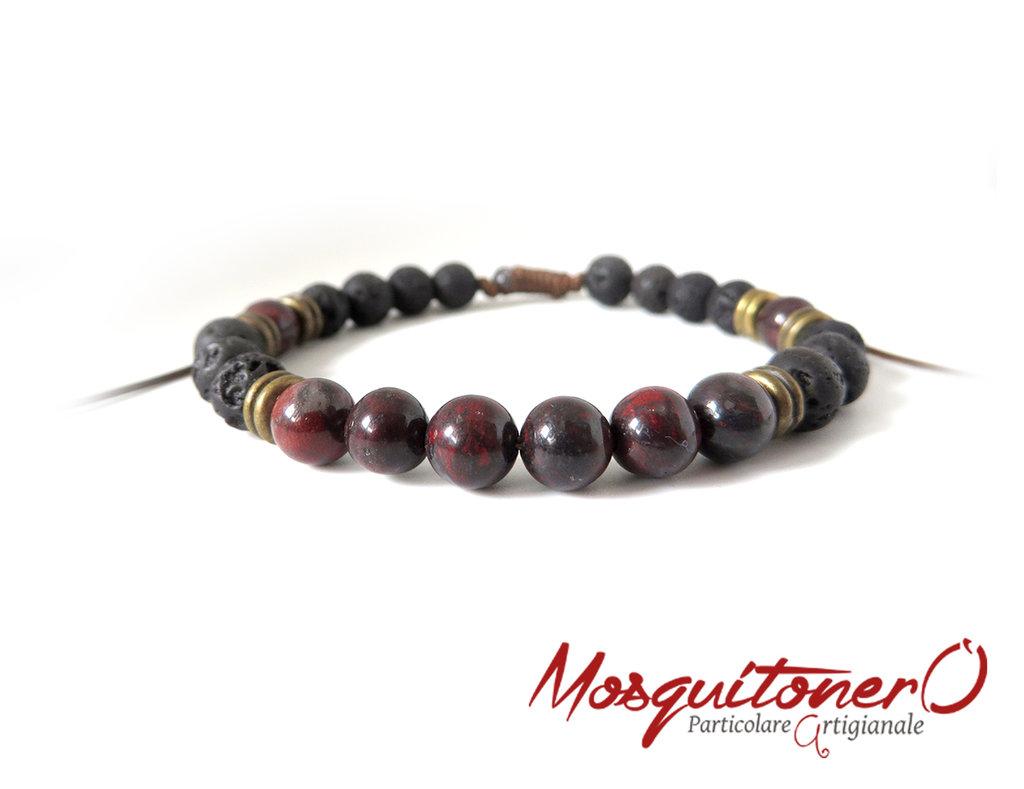 Bracciale uomo con perle pietra lavica smaltate bronzo e nero,Diaspro rosso e inserti in metallo,pietra vulcanica per energia equilibrio