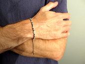 Bracciale da uomo donna minimal con perle cubi colore argento
