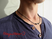 Collana uomo girocollo perla sfaccettata in metallo argento stile minimal,zen collana semplice in cordino