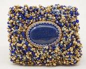 spilla pietra dura lapislazzuli rettangolare perline vetro regalo amica