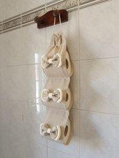 Porta rotoli Carta igienica shabby chic in beige a pois con fiocchi avorio
