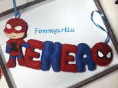 Banner nome Spiderman , lettere in pannolenci