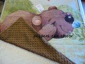 copertina unisex con orso bruno per neonato cotone piquet e minky pile