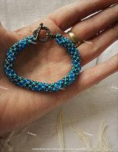 """""""Starry Night"""" Bracciale a Spirale Russa blu, piombo e bronzo, con chiusura a T"""