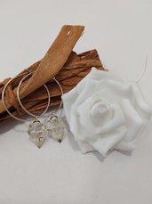 Orecchini donna cerchio ciondolo soffione orecchini fatti a mano orecchini resina fiori veri