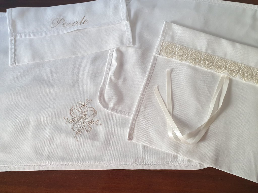 Set da ospedale per neomamme, nascita, in puro cotone bianco con ricami in beige