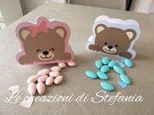 15 scatoline porta confetti in cartoncino a tema orsetto per nascita