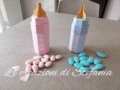 15 scatoline porta confetti a forma di biberon per nascita