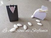 18 coppie di scatoline porta confetti a forma di vestiti sposi per segnaposto