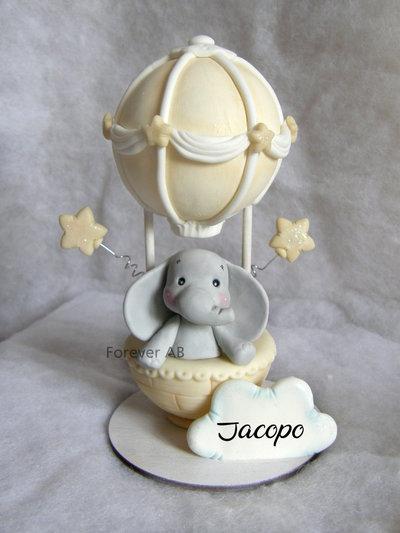 Cake topper Mongolfiera elefante , cake topper battesimo, cake topper nascita, cake topper primo compleanno