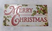 targa con spago legno natale fuoriporta ornamento decorazione natalizia merry christmas