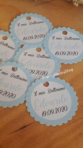 Targhette personalizzate bambino battesimo baby-shower nascita prima comunione cresima bimba bimbo decorazioni bomboniera  bigliettini tags azzurro celeste fatto a mano