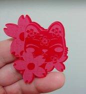 Stampo Gatto Maneki Neko con Fiori di Sakura