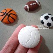 Ciondolo pallone palla calcio rugby pallavolo basket fimo
