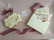 biscotto targhetta compleanno, segnaposto, regalo fine festa raffinata elegante festa a tema anniversario matrimonio ringraziare ospiti 8,6x6cm