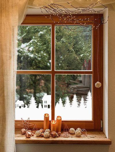 Adesivo natalizio striscia con casette e abeti per vetri finestre