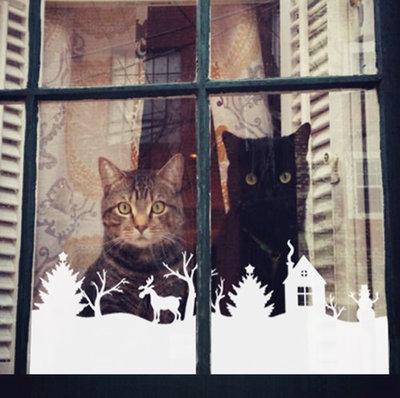 Adesivo natalizio striscia con renna casetta e pupazzo di neve
