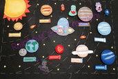 Pannello educativo-sistema solare in feltro e pannolenci- kit gioco feltro