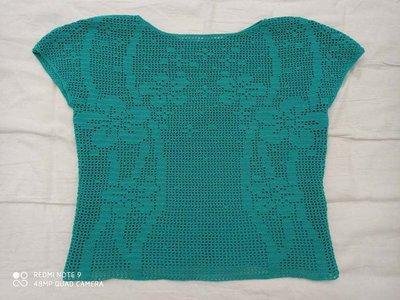 Maglia filet uncinetto colore verde Tiffany cotone ottima qualità crochet t shirt outfit estivo