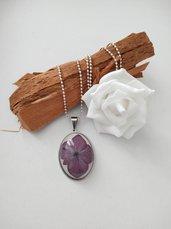 Collana lunga ciondolo fiori ortensia viola ciondolo fatto a mano amuleto donna ciondolo resina