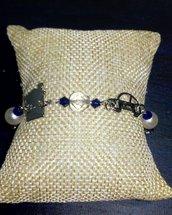 Bracciale perle e cristalli blu