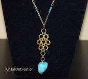 Collana mille maglie con cristallini turchesi e pietra turchese