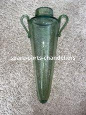 Vaso verde in vetro soffiato di Murano