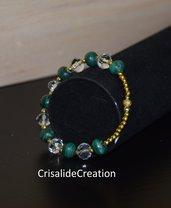 Bracciale cristalli trasparenti e pietre verdi sfumate