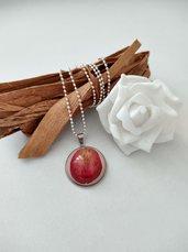 Ciondolo rosa rossa collana con ciondolo collana lunga dona petali di rosa rossa