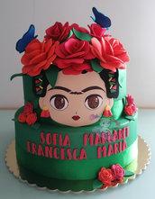Torta scenografica compleanno- torta finta Frida kahlo