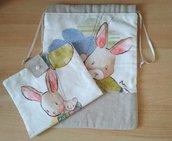 Completo sacchetto primo cambio bebé con portapannolini-trousse tela aida