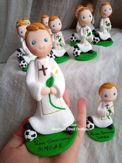 Statuina grande cake Topper fimo Comunione calcio
