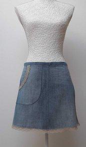 Grembiule da cucina donna in jeans blu chiaro con tasca e pizzo