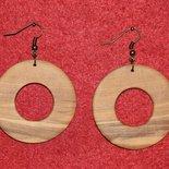 orecchini a cerchio in legno d'ulivo (cod.004)