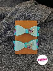 Coppia elastici per capelli con fiocco gioiello farfalla