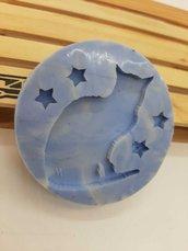 Stampo in gomma siliconica con gattino e stelline